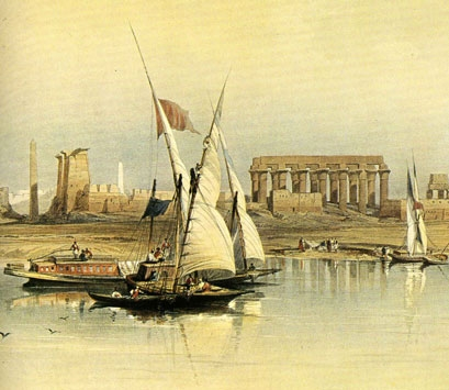 Ticket de entrada al Museo Egipto y lámina del Nílo